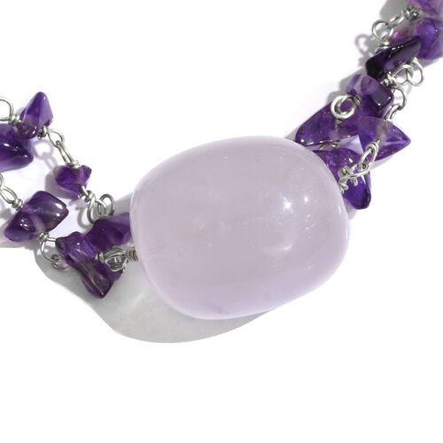 Two Row Rose Quartz and Amethyst Necklace (Size 18) in Silver Tone 53.600 Ct.