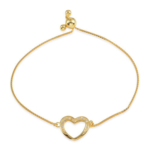 (Option 3) JCK Vegas Collection AAA Simulated Diamond (Rnd) Heart Bracelet (Size 9) in 14K Gold Overlay Sterling Silver