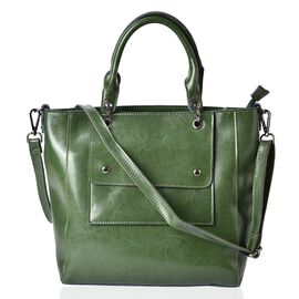 Pimlico Genuine Leather Green Colour Tote Bag with External Zipper Pocket, Adjustable and Removable Shoulder Strap (Size 36x29x29x12 Cm)