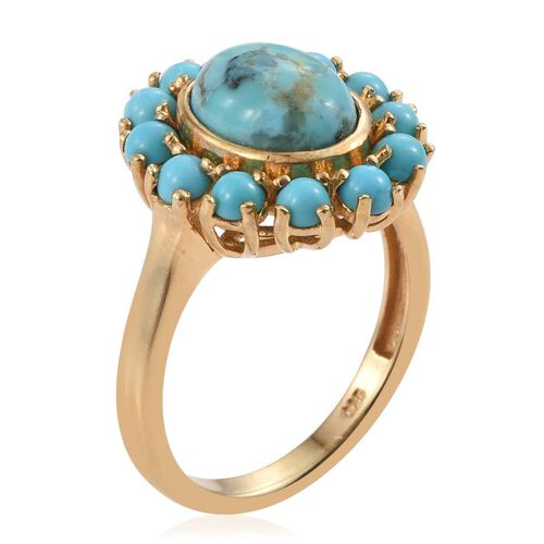 Arizona Matrix Turquoise (Ovl 2.00 Ct), Sonoran Turquoise Ring in 14K Gold Overlay Sterling Silver 3.250 Ct.