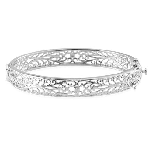 Platinum Overlay Sterling Silver Bangle (Size 7.5), Silver wt 22.04 Gms.
