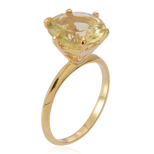 Lemon Quartz (Rnd) Solitaire Ring in 14K Gold Overlay Sterling Silver 5.500 Ct.