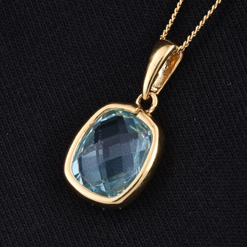 Sky Blue Topaz (Cush) Solitaire Pendant With Chain in 14K Gold Overlay Sterling Silver 3.750 Ct.