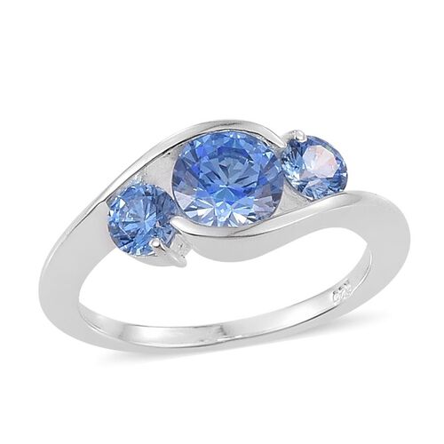 J Francis - Sterling Silver (Rnd) 3 Stone Ring Made with Blue SWAROVSKI ZIRCONIA