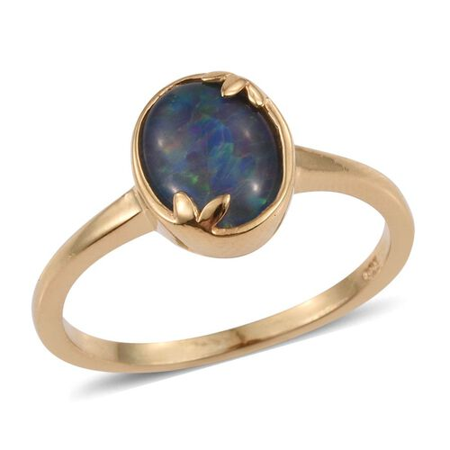 Boulder Opal Triplet (Ovl) Solitaire Ring in 14K Gold Overlay Sterling Silver 1.250 Ct.