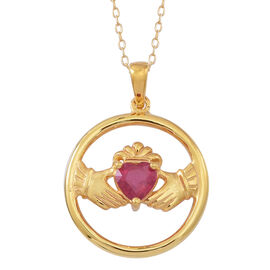 African Ruby (Hrt) Claddagh Pendant With Chain in 14K Gold Overlay Sterling Silver 1.100 Ct.
