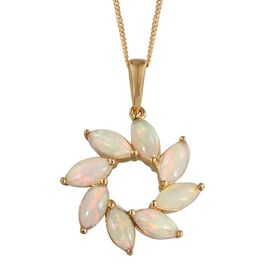 AA Ethiopian Welo Opal (Mrq) Floral Pendant With Chain in 14K Gold Overlay Sterling Silver 2.500 Ct.
