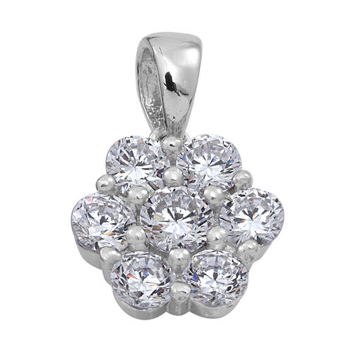 ELANZA AAA Simulated Diamond (Rnd) 7 Stone Floral Pendant in Rhodium Plated Sterling Silver