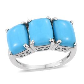 Arizona Sleeping Beauty Turquoise (Cush) Trilogy Ring in Platinum Overlay Sterling Silver 4.750 Ct.