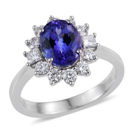 RHAPSODY 950 Platinum AAAA Tanzanite (Ovl 2.25 Ct), Diamond Ring 3.020 Ct.