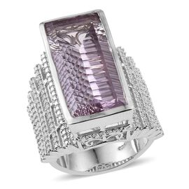 Rose De France Amethyst (Bgt), Diamond Ring in Platinum Overlay Sterling Silver 16.270 Ct.