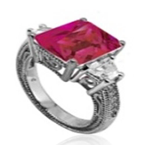 ELANZA AAA Simulated Pink Sapphire (Oct), Simulated Diamond Ring in Rhodium Plated Sterling Silver