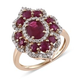 Designer Inspired-9K Y Gold AAA Burmese Ruby (Ovl), Diamond Ring 3.250 Ct.