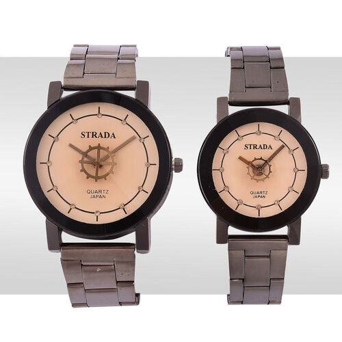 Set of 2 - STRADA Japanese Movement Champagne Austrian Crystal Studded Beige Dial Watch in Black Tone with Stainless Steel Back and Chain Strap