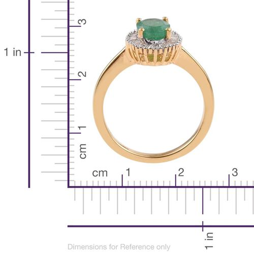 Kagem Zambian Emerald (Ovl 1.05 Ct), Diamond Ring in 14K Gold Overlay Sterling Silver 1.250 Ct.