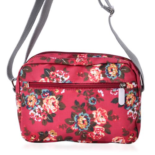 Designer Inspired Multi Colour Floral Printed Red Colour Handbag with External Zipper Pocket and Adjustable Shoulder Strap (Size 24x18x8 Cm)