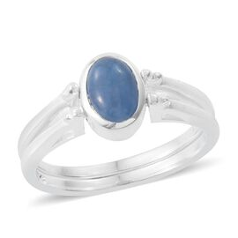 Blue Jade (Ovl 1.10 Ct), Pink Jade Reversible Ring in Sterling Silver 2.150 Ct.