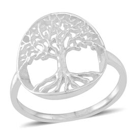 Thai Rhodium Plated Sterling Silver Tree of Life Ring, Silver wt 3.70 Gms.