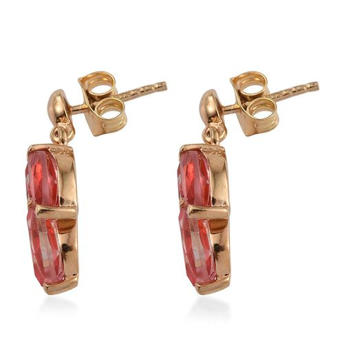 Padparadscha Quartz (Mrq) Earrings (with Push Back) in 14K Gold Overlay Sterling Silver 2.500 Ct.