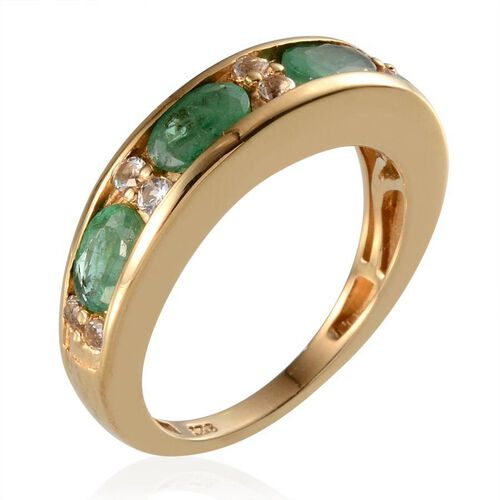 Kagem Zambian Emerald (Ovl), White Topaz Half Eternity Band Ring in 14K Gold Overlay Sterling Silver 2.150 Ct.
