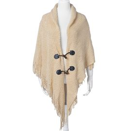 Cream Colour Knitted Poncho with Tassels (Free Size)