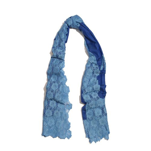 Hand Knitted - (50% Mulberry Silk and 50% Merino Wool) Dark Blue Colour Scarf with Light Blue Floral Lace Border (Size 170x75 Cm)