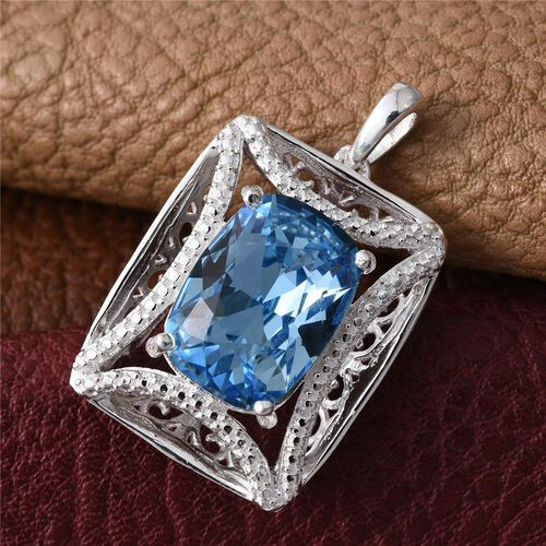 Crystal from Swarovski - Aquamarine Colour Crystal (Cush) Pendant in Sterling Silver