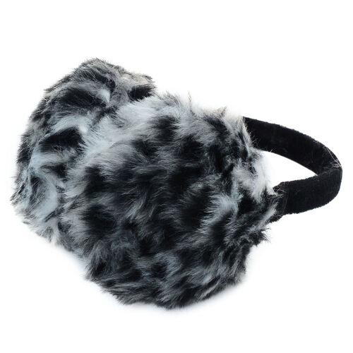 Faux Fur Grey Colour Scarf and Fluffy Earmuff
