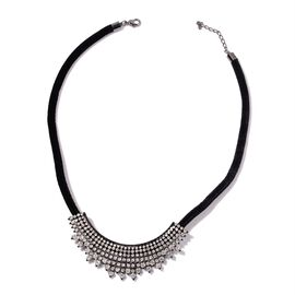 White Austrian Crystal Necklace (Size 20 with 2 inch Extender) in Black Tone with Velvet Cord