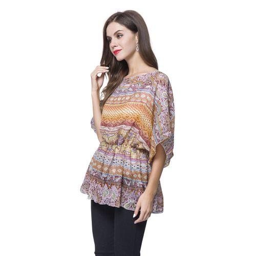 Orange, Grey and Multi Colour Bohemian Pattern Poncho (Free Size)