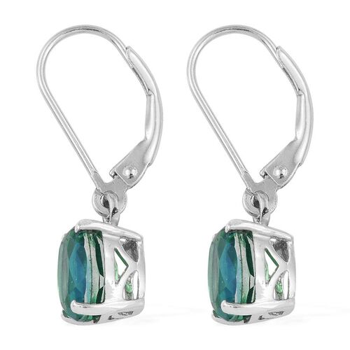 Peacock Quartz (Ovl) Lever Back Earrings in Platinum Overlay Sterling Silver 4.250 Ct.