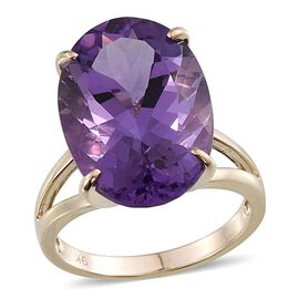9K Y Gold Zambian Amethyst (Ovl) Ring 16.000 Ct.