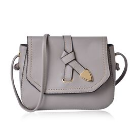 Grey Colour Crossbody Bag with Shoulder Strap (Size 21.5x17x6.5 Cm)