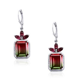 Tourmaline Colour Quartz (Oct), Rhodolite Garnet Lever Back Earrings in Platinum Overlay Sterling Silver 13.500 Ct.