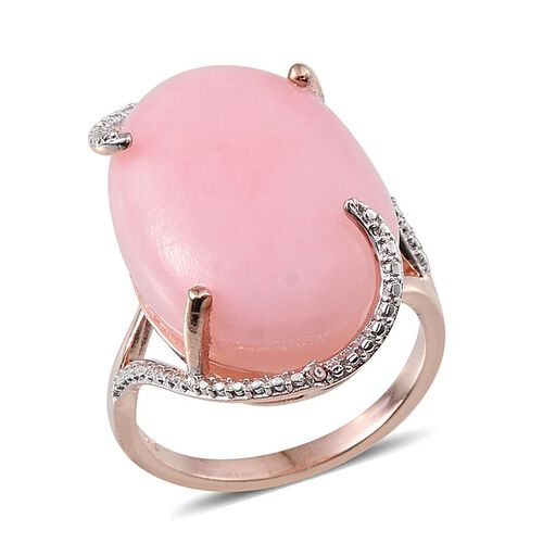 Peruvian Pink Opal (Ovl 16.75 Ct), Diamond Ring in Rose Gold Overlay Sterling Silver 16.760 Ct.