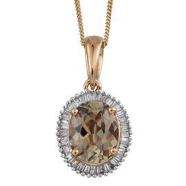 ILIANA 18K Y Gold Turkizite (Ovl 2.35 Ct), Diamond Pendant With Chain 2.500 Ct.