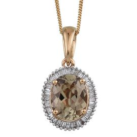 ILIANA 18K Y Gold Turkizite (Ovl 2.35 Ct), Diamond Pendant With Chain 2.500 Ct.