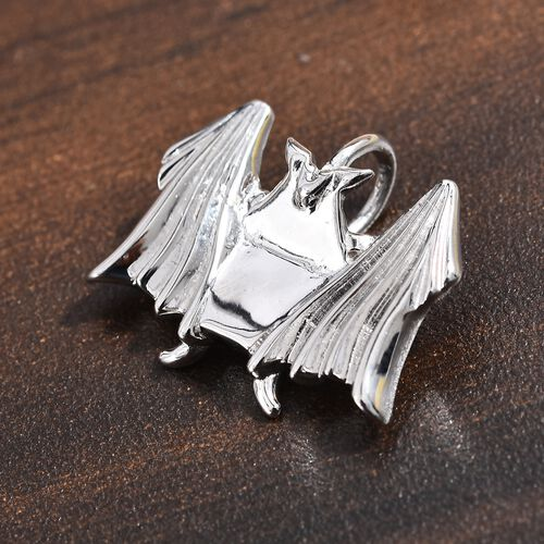 Origami Bat Silver Pendant in Platinum Overlay Sterling Silver, Silver wt 3.42 Gms.
