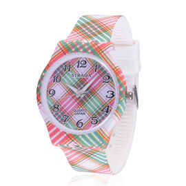 STRADA Japanese Movement Green and Pink Grid Printed Dial Water Resistant Watch with Stainless Steel Back and Grid Printed Strap