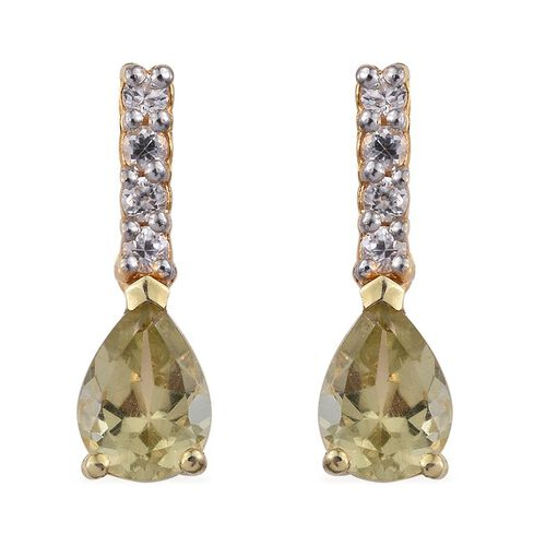 Natural Canary Apatite (Pear), Natural Cambodian Zircon Earrings in 14K Gold Overlay Sterling Silver 1.500 Ct.