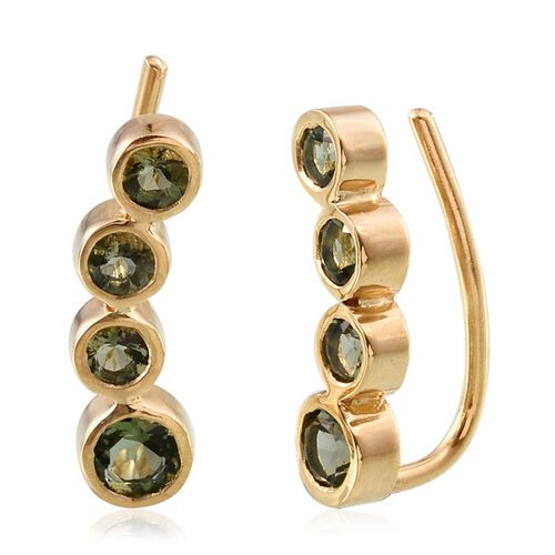 Bohemian Moldavite (Rnd) Climber Earrings in 14K Gold Overlay Sterling Silver 1.500 Ct.