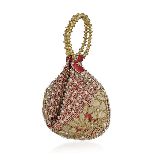 Golden Colour Floral and Leaves Pattern Red Satin Potli Bag with Acrylic Pearl Beads (Size 24x16 Cm)