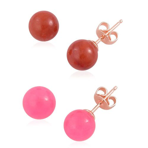 Mega Auction - Set of 2 - Pink and Red Jade Ball Stud Earrings (with Push Back) in Rose Gold Overlay Sterling Silver 19.090 Ct.