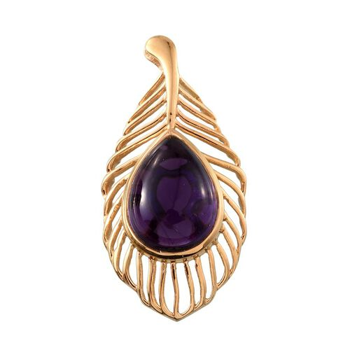 Amethyst (Pear) Feather Pendant in 14K Gold Overlay Sterling Silver 10.500 Ct.