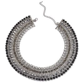 Black and White Austrian Crystal, Simulated Stones Necklace (Size 18 with 2 inch Extender) in Silver Tone