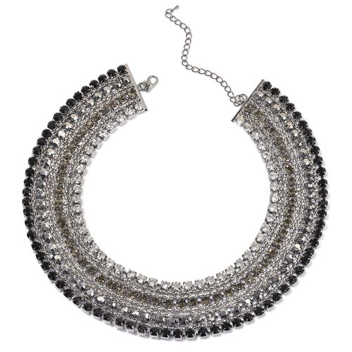 AAA Black and White Austrian Crystal, Simulated Stones Necklace (Size 18 with 2 inch Extender) in Silver Tone