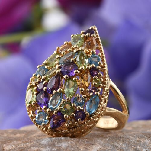 GP Hebei Peridot (Pear), Amethyst, Citrine, Electric Swiss Blue Topaz, Kanchanaburi Blue Sapphire and Multi Gem Stone Ring in 14K Gold Overlay Sterling Silver 3.850 Ct.
