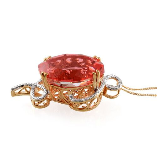 Padparadscha Colour Quartz (Mrq 33.00 Ct), Diamond Pendant With Chain in 14K Gold Overlay Sterling Silver 33.010 Ct.
