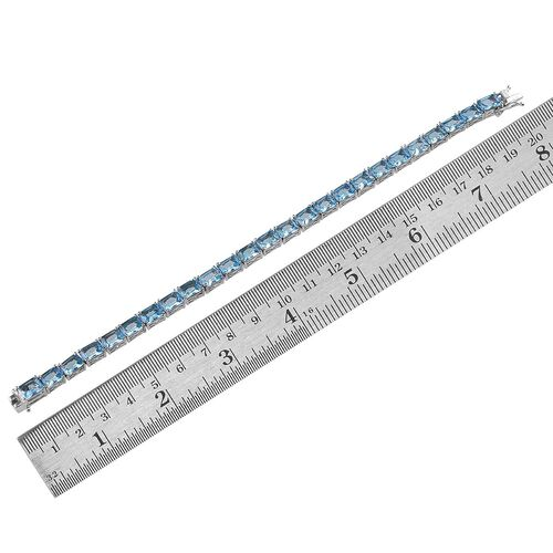Electric Swiss Blue Topaz (Oct) Tennis Bracelet in Platinum Overlay Sterling Silver (Size 7.5) 27.000 Ct.