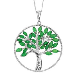 Green Ethiopian Opal (Mrq) Tree of Life Pendant with Chain in Platinum Overlay Sterling Silver 2.250 Ct.